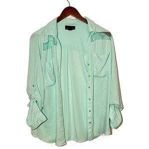 Attention Mint Green Button Up Shirt